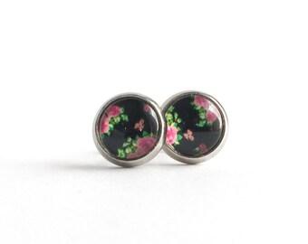 Clous d'oreilles noir fleuri 8mm en acier inoxydable, Clous d'oreilles, Boucles d'oreilles rose, Boucles d'oreilles filles