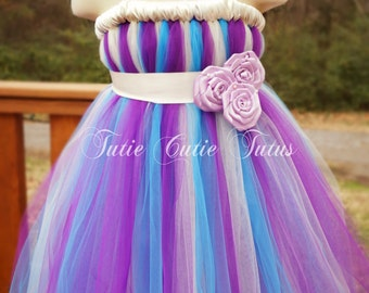 Purple, Turquoise and Ivory Flower Girl Tutu Dress with Rose Sash
