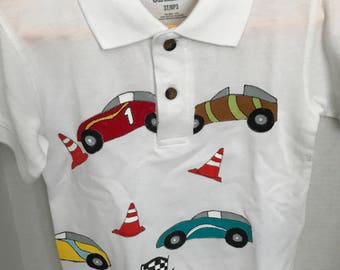 Little Boy Polo Shirt with handpainted Race cars