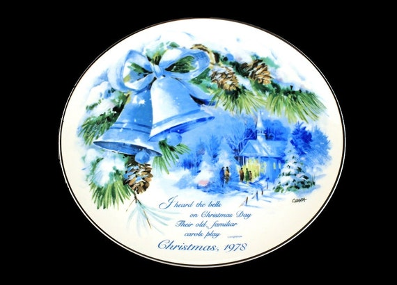 Commemorative Plate, American Greetings, Christmas 1978, Designed by Chiara, Porcelain, American Watercolor Society, Longfellow Plate
