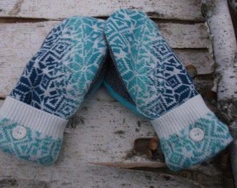 Sweater Mittens, made from recycled upcycled sweaters, fleece lined, tea;. gray and white Nordic design