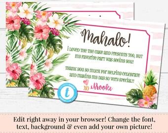 Tropical Thank You, Luau Invitation, Aloha Template, Mahalo Postcard, Printable DIY, Instant Download, Birthday Invite, Templett Invitation