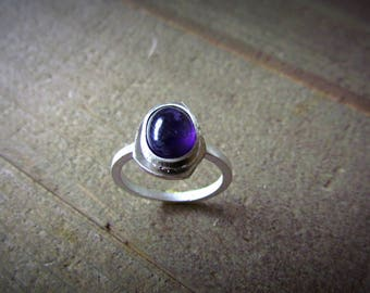February Birthstone Amethyst Sterling Silver Ring Band Handmade