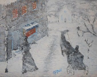 "Winter Street Oil Painting 9"" x 12"" 1/2"