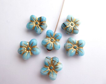 6 x 14x13mm Stripey Blue and Gold Puffy Daisy Flower Czech Glass Beads, Blue Flower Beads, Gold Flower Beads, Daisy Beads FLW0336