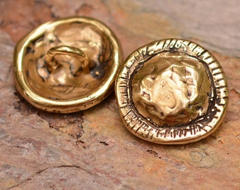 Gold Bronze Sculpted Artisan Button Clasp with Rustic Edge, B-91