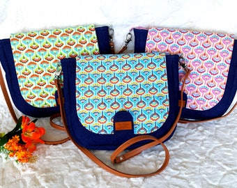 Crossbody Bag, Denim and Flowers Pattern, Leather Adjustable Strap, Everyday Purse, Messenger Tote