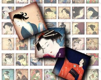 Japanese Ladies (1) Digital Collage sheet - Asian Beauties - Squares 1 inch or 0.875 inch or scrabble size - Buy 3 Get 1 Extra Free
