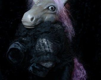 OOAK fine art doll: Lavender-haired Dark Unicorn in Lace and Velvet with Scorpion Hat