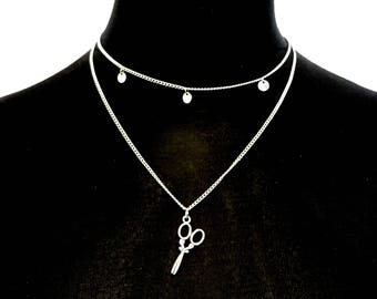 Double Necklace Twin Scissor Charm Necklace