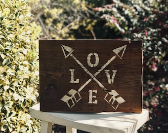 """Rustic """"Love"""" Hand Painted Barn Wood Sign"""