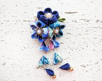 Plum Blossom Dangle Hair Clip, Japanese Kimono Accessory, Kanzashi Flower, Kimono Hair Clip, Geisha Hair Piece - Blue Patterned