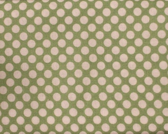 Green and White Polka Dot Fat Quarter Quilt Fabric