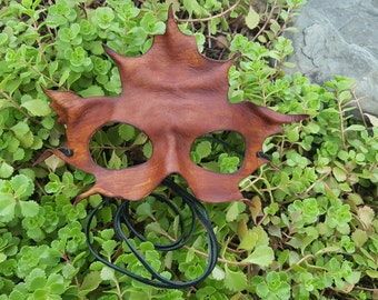 Handmade Brown Leather Maple Leaf Mask -- Ready to Ship