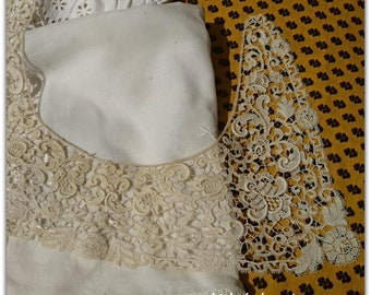 1900's Beige French Guipure Lace Collar Detachable Floral Cotton Lace Bridal Collar Sewing Project #sophieladydeparis