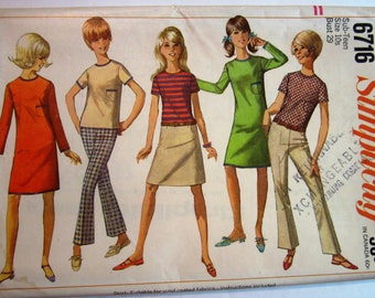 Sub-Teen Girls Dress or Top with Hip-Hugger Pants and Skirt Size 10S Vintage 1960s Simplicity Pattern 6716 UNCUT