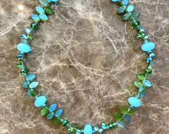 Czech Crystal Necklace Czech Crystal Olivine A/B Necklace Aqua Chalcedony Necklace Crystal and Gemstone Necklace Leaf Necklace