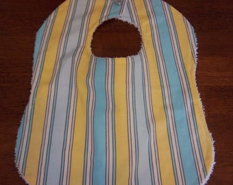 Zoo Babies Stripe in Blue & Yellow Bib