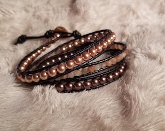 Moonstone and Swarovski Pearl Wrap Bracelet