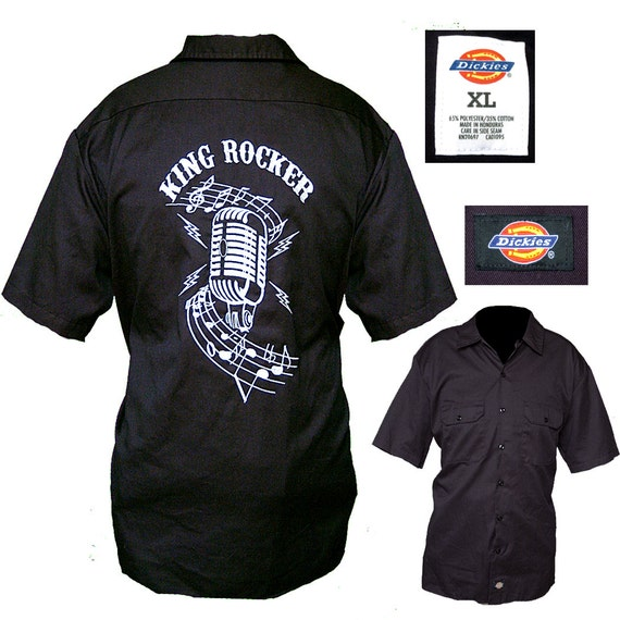 Embroidered Dickies Rockabilly Shirt / Mens Rocker Shirt / Mens Lounge Shirt  / Mens Work Shirt