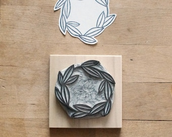Large Leafy Wreath Hand Carved Rubber Stamp