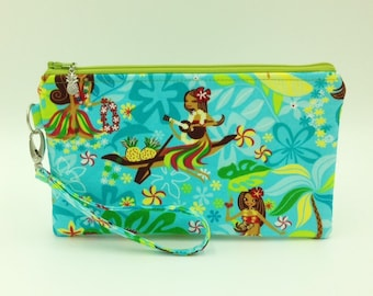 Clutch, Wristlet, Clutch Purse, Evening Bag, Bridesmaid Clutch, Zippered Bag in Hula Girl with Ukulele - Made in Maui