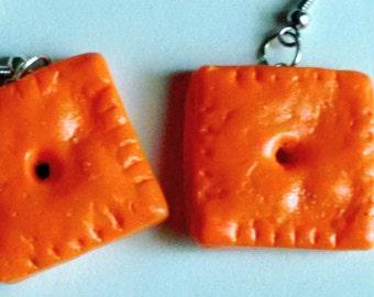 Cheez-It Earrings - Miniature Food Jewelry - Inedible Jewelry - Kid's Jewelry - Fake Food Jewelry - Cheese Crackers Jewelry - Kawaii Jewelry