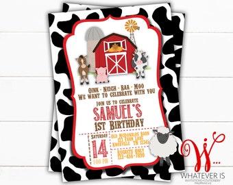 Barnyard Farm Birthday Printable Invitation | Red Farm Birthday Invitation | Farm Birthday Invitation | Boy Birthday | Farm Birthday