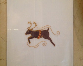 Embroidered Reindeer Guest Towels with  Galucci Border/Holiday