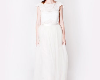 Pearl Ivory Long Tulle Bridal Wedding Skirt