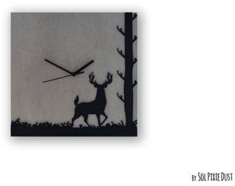 Concrete with Deer Silhouette TYPE 1- Square Wall Clock  - Modern Wall Clock