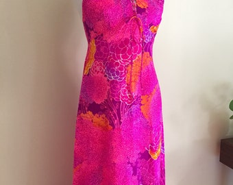 1960's Hawaiian Halter Maxi Dress Lace Up Front // Tropical TIKI Pink Orange Purple Floral Psychedelic Print // Size Small