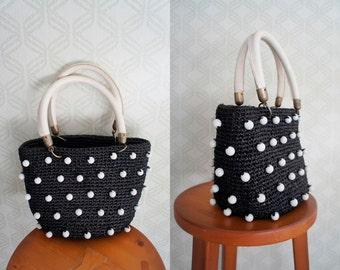 Black raffia VINTAGE handbag. Black and white retro handbag.