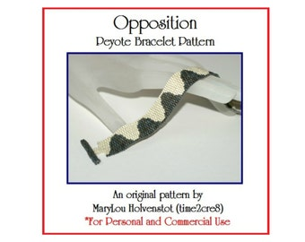Peyote Pattern ... OPPOSITION ... Bracelet Pattern Beadweaving PDF Two Color Tutorial Instruction Narrow Bracelet DIY Jewelry Pattern