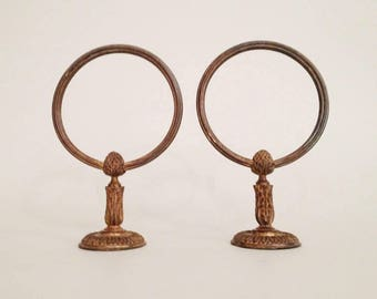 Pair of Antique Bronze Towel Holder - Bronze Towel Ring