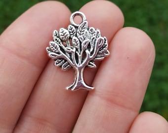 5 PIECES Tree Charm, Tree of life charm, tree pendant, nature charm, fall charms, tree charm, Antique Silver Tone Zinc Alloy B05574H