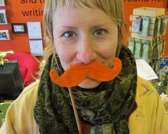 Upcycled Steampunk Tangerine Orange Felt Handlebar Mustache on a Stick - Movember Movement