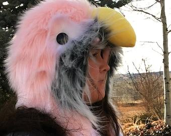 Rosy Bourke Scoodie. Spirit Hood. Parrot Costume. Bird Hat.