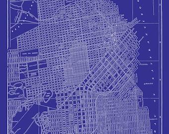 San francisco msp street map vintage blueprint print poster san francisco map street map vintage blueprint print poster malvernweather Images
