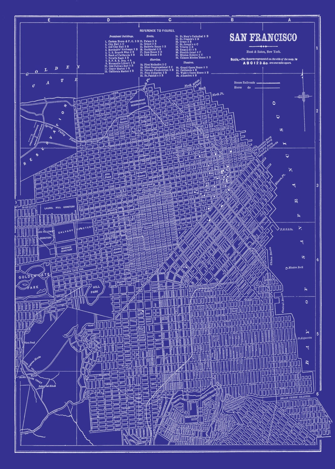 Francisco map street map vintage blueprint print poster zoom malvernweather Images