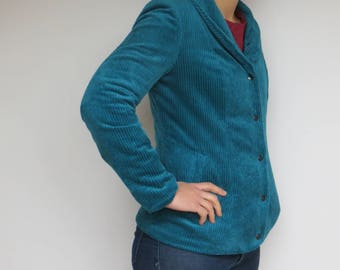 Lady teal corduroy jacket