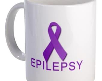 PURPLE RIBBON Epilepsy Awareness 11oz Ceramic Coffee Cup Mug