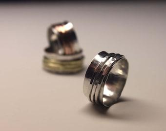 Silver on Silver Spinner Fidget Meditation Ring