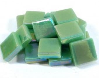 12mm Mosaic Craft Tiles - Spearmint Green Pearlised - 50g / 1.75 oz (approx 45 tiles)