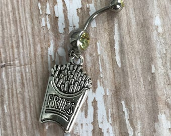 Yellow Belly Ring with Fries Charm