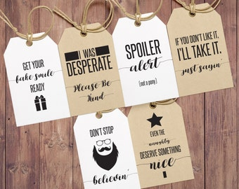 Funny Gift Tags - Christmas Gift Tags - Holiday Gift Tags - Humorous Gift Tags - Birthday Gift Tags - Gift Wrapping Tags