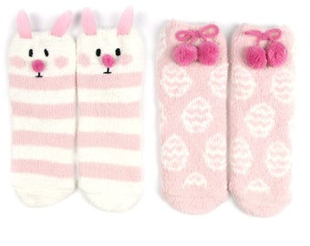 Pink easter bunny and eggs fuzzy socks with pom pom