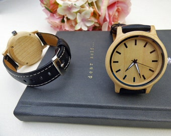 Minimalist Watch, Bamboo Wrist Watch, Black Leather Wristband, Wood watch, Precision Quartz Watch, Women's watch - Item QW260