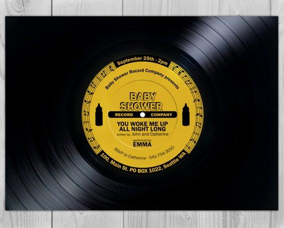 Vinyl Baby Shower - Music Baby Shower - Vinyl Invite - Music Invite - Vinyl Invitation - Music Invitation - 60s Invite - 70s Invite - Vinyl