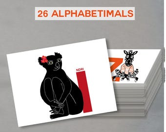 letter cards set of 26 cards of alphabetimals